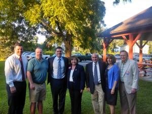 From left Kevin Sullivan, Bo Sullivan, Rep. John Velis, Sen. Gale Candaras, Judge Peter Velis, his wife Suzanne, and Candaras' husband Arthur Wolf. (WMassP&I)