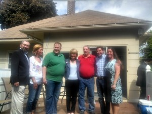 Martha Coakley at spring house party at the home of Holyoke School Committee Vice-Chair Devin Sheehan (in green). (WMassP&I)