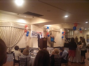 Holyoke Mayor Alex Morse addressing supporters Wednesday night (WMassP&I)