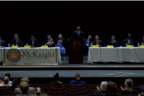 AIC/P.O.W.E.R./McKnight Council Debate at Griswold Theater (via Focus Springfield screen capture)