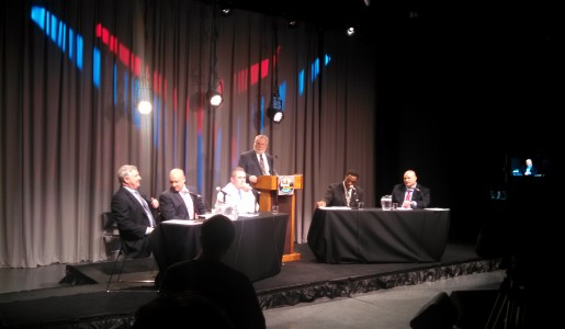 From right, Michael Albano, Thomas Ashe, Jack Griffin, moderator Mike Dobbs, James Gill and Nick Cocchi. (WMassP&I)