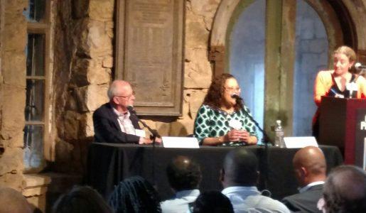 Hampden Sheriff Michael Ashe with Vivian Nixon and NPR's Carrie Johnson in Philadelphia last month (WMassP&I)