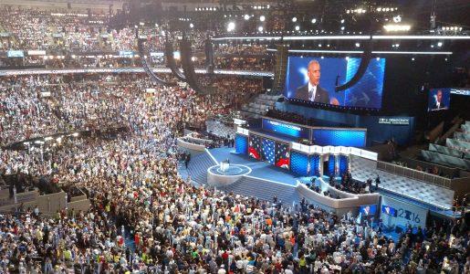 President Obama addressing the convention in Philadelphia Wednesday night. (WMassP&I)