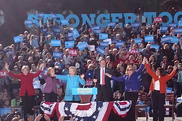 From left, Elizabeth Warren, Maggie Hassan, Hillary Clinton, Colin Van Ostern, Anne Kuster and Carol Shea-Porter. (WMassP&I)