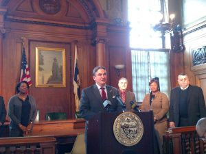Mayor Domenic Sarno Monday afternoon with members of his Complaint Hearing Board. (WMassP&I)